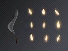 Candle Fire Flame. Realistic Candlelight Burning, Extinguished With Smoke 3d Candles Light And Varios Flames Collection For Animation Picture, Vector Set On Transparent Background