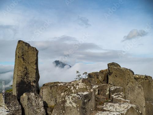 Fototapeta milesovka mountain seen from ostry above morning fog obraz