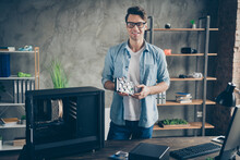 Portrait Of His He Nice Attractive Cheerful Cheery Confident Professional Guy Geek Technician Repairing Hardware Company Owner At Modern Loft Industrial Home Office Work Place Station