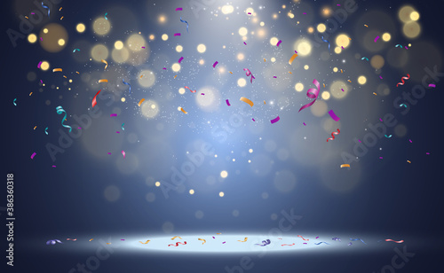Photo Lots of colorful tiny confetti and ribbons on transparent background
