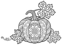 Vector Coloring Book For Adults. Pumpkin In Mandala Style With Detailed Patterns For Halloween And Thanksgiving Day