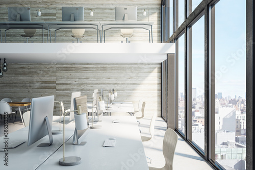 Contemporary office hall with panoramic city view