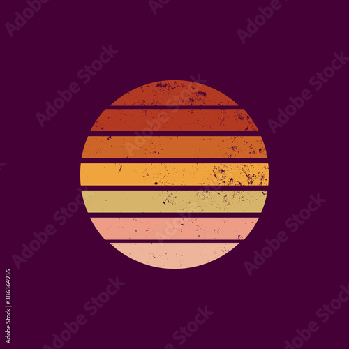 Fototapeta Retro sunset in 80-90s style with grunge texture. Graphic silhouette of the sun on a dark isolated background. Yellow-orange colored gradient. Vintage style for logo icons, templates, poster. Vector. obraz na płótnie