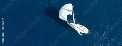 Aerial drone ultra wide panoramic photo of beautiful sailboat with white sails c Fototapet