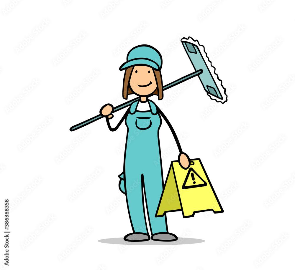 Fototapeta Putzfrau von Gebäudereinigung mit Warnschild wegen Rutschgefahr