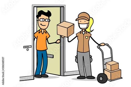 Obraz Paketbotin mit Mundschutz stellt Paket an Wohnung Tür zu - fototapety do salonu