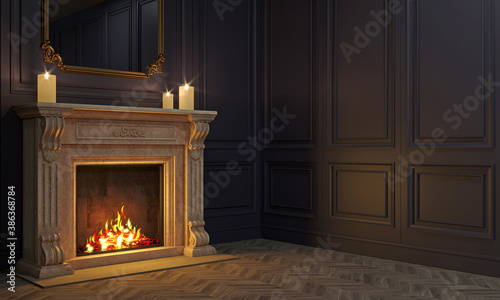 Obraz Classic fireplace in a vintage night room - fototapety do salonu