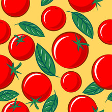 Vegetables Mix Seamless Pattern. Ripe Tomatoes With Basil Leaves. Original Simple Flat Illustration.