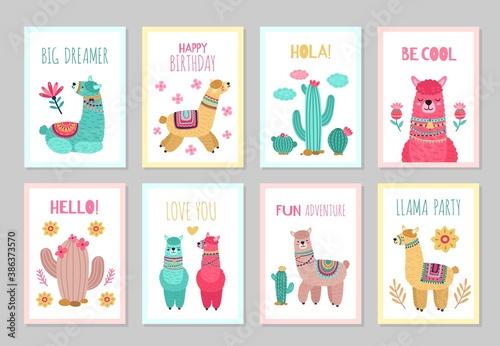 Naklejka premium Llama cards. Beautiful invitations, alpaca flower colorful birthday invites. Babies kids posters with cactus cute wild animals vector set. Illustration alpaca card, greeting colored traditional poster