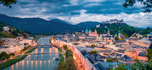 Panoramic Summer Cityscape Of Salzburg, Old City, Birthplace Of Famed Composer Mozart. Dramatic Outdoor Scene Of Eastern Alps, Austria, Europe. Captivating Evening Landscape With Salzach River.