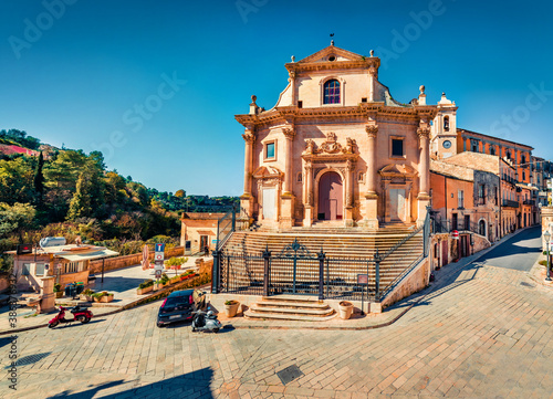 Attractive spring cityscape of Ragusa town with Church Holy Souls in Purgatory Wallpaper Mural