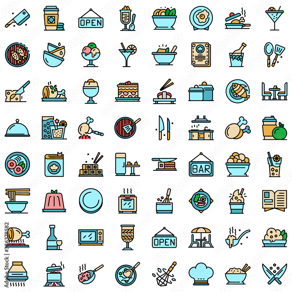 Fototapeta Restaurant icons set. Outline set of restaurant vector icons thin line color flat on white
