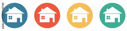 Bunter Banner mit 4 Buttons: Haus, Homepage, Eigenheim, Ferienhaus Wallpaper Mural