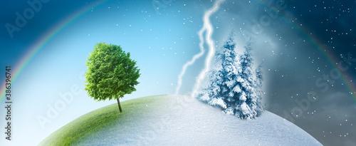 Obraz Jahreszeitenwechsel von sommer zu winter - fototapety do salonu