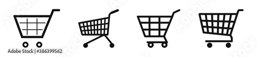 Fototapeta Set of shopping cart icons in line style, shopping basket vector icon