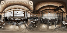 Industrial Wooden Brick Loft Caffee Restaurant. 360 Interior
