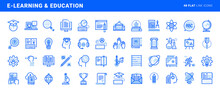 Set Of Flat Line Icons Of E-learning And Education. Vector Concepts For Website And App Design And Development.