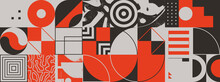 Geometric Distress Design Of Abstract Brutalist Pattern Artwork With Various Geometric Shapes