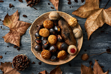 roasted sweet potato and chestnuts, and panellets