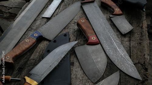 Papel de parede various types of damascus knives
