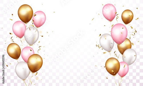 Obraz Celebration banner with gold confetti and balloons - fototapety do salonu