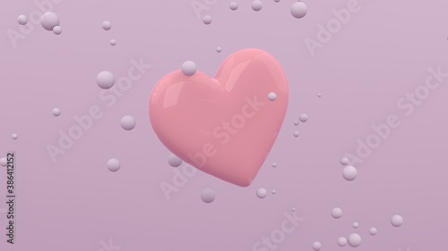Big glossy heart flying in the air on light purple background with floating spheres. Modern cover design. 3d illustration.