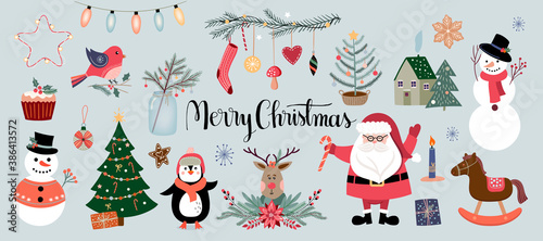 Fototapeta Christmas elements collection, winter seasonal design, vector obraz
