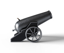 Ancient Cannon. 3d Illustration Of Vintage Cannon On White Background. Medieval Weapons For Your Design