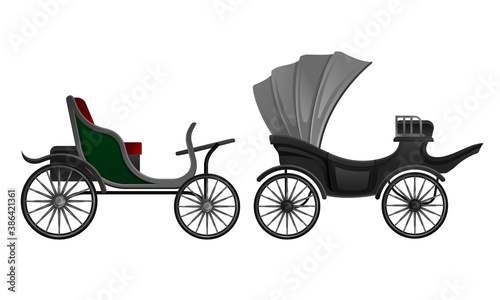 Carriage and Coach as Private Four-wheeled Vehicle Vector Set Fototapete