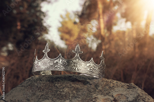 Obraz mysterious and magical photo of silver king crown in the England woods over stone. Medieval period concept. - fototapety do salonu