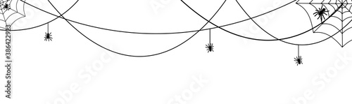 Halloween spiderweb border with hanging spiders Fototapet