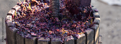 Winepress with red must and helical screw Wallpaper Mural