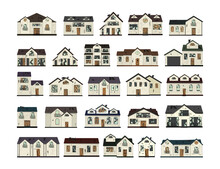 Set One-story Old Dilapidated House Before Renovation. Cartoon Style. Vector Illustration.