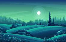Night Landscape With Hills, Da...