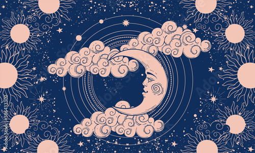 Foto Mystical banner for astrology or boho design, crescent moon with face on blue background and clouds