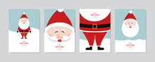 Christmas Card Set. Merry Christmas And Happy Greeting Wishes Cute Santa Claus Lettering Vector.