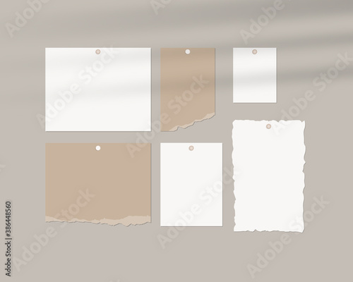 Obraz Mood board mockup template. Empty sheets of white paper on the wall with shadow overlay. Mockup vector isolated. Template design. Realistic vector illustration. - fototapety do salonu