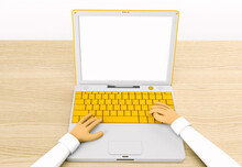 Work On A  Laptop. Schoolgirl ...