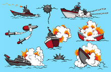 Comic Book Warships Set. Collection Of Ships That Launch Missiles Or Explode. Military Action. Pop Art Concept Icons For Comic Book Page Or App Decoration