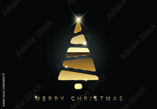 Obraz Christmas Card with Minimalistic Golden Tree  - fototapety do salonu