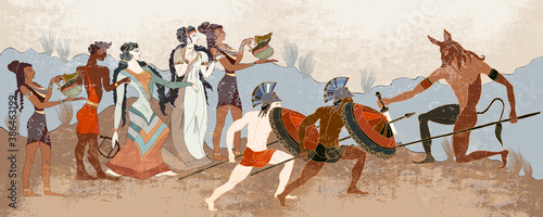Obraz Ancient Greece banner. Classical medieval style. Vector illustration. Hunting for a Minotaur - fototapety do salonu