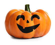 Halloween Pumpkin With Cute Drawn Face Isolated On White