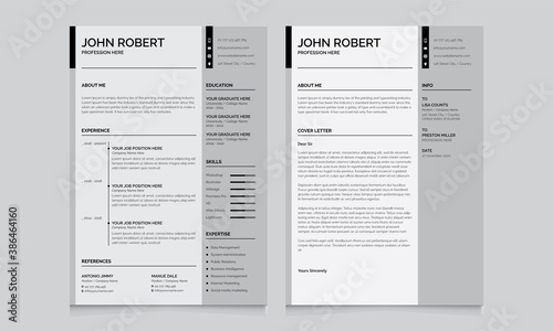 Fotografía Resume and Cover Letter Layout Set with Gray Right bur