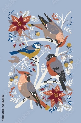 Fotografia Digital illustration with winter birds and Christmas flora is beautiful for a tea towel
