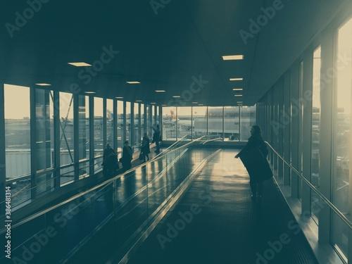 Fototapeta long corridor in building