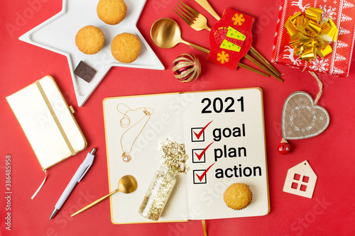 planning 2021, goal notebook for new year, christmas 2021 Canvas Print
