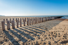 Row Of Weathered Wooden Poles ...