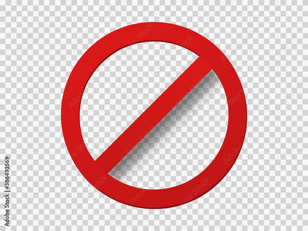 Fototapeta Banned icon template. Red circle with crossed out stripe symbol of prohibition travel.
