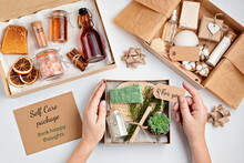 Preparing Self Care Package, Seasonal Gift Box With Plastic Free Zero Waste Cosmetics Products