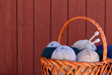 Basket With Threads For Knitti...